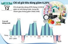 [Infographics] Chỉ số giá tiêu dùng của tháng 12 giảm 0,25%