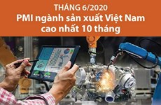 [Infographics] Tháng 6: PMI ngành sản xuất Việt Nam cao nhất 10 tháng