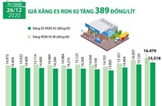 [Infographics] Giá xăng E5 RON 92 tăng 389 đồng mỗi lít