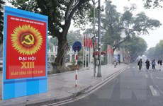 [Photo] Hà Nội trang hoàng cờ hoa chào mừng Đại hội Đảng lần thứ XIII