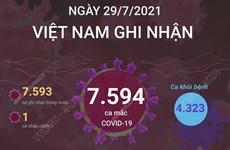 [Infographics] Ngày 29/7, Việt Nam ghi nhận 7.594 ca mắc COVID-19