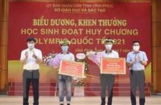 Vĩnh Phúc: Khen thưởng 2 học sinh đoạt huy chương Olympic quốc tế 2021