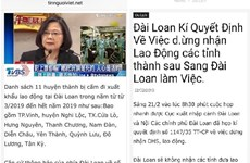 Bác bỏ thông tin Đài Loan dừng tiếp nhận lao động Việt Nam từ tháng Ba