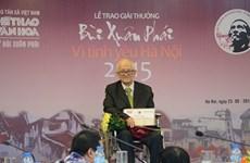 Giải thưởng Lớn-Vì tình yêu Hà Nội vinh danh nhà nghiên cứu Giang Quân