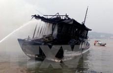 Truy tìm nguyên nhân vụ cháy tàu thu mua hải sản trên biển Bình Thuận