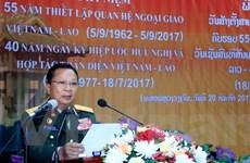 Bộ Quốc phòng Lào míttinh kỷ niệm các ngày lễ lớn Việt Nam-Lào