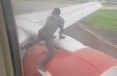 [Video] Người đàn ông liều mình nhảy lên cánh máy bay đang cất cánh