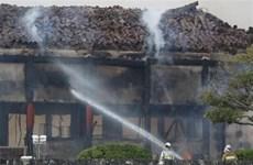 Cận cảnh hiện trường vụ cháy lâu đài Shuri của Nhật Bản