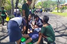 Hàng trăm học sinh Indonesia diễn tập sơ tán sóng thần
