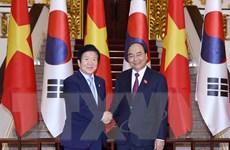Hình ảnh Thủ tướng Nguyễn Xuân Phúc tiếp Chủ tịch Quốc hội Hàn Quốc