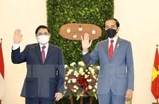 [Photo] Thủ tướng Phạm Minh Chính chào xã giao Tổng thống Indonesia