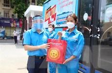 Công nhân lao động Thủ đô nhận hỗ trợ từ 'Xe buýt siêu thị 0 đồng'