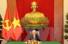 [Photo] Tổng Bí thư Nguyễn Phú Trọng điện đàm với ông Tập Cận Bình