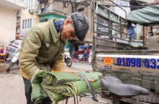 Chợ lá dong giữa lòng Hà Nội nhộn nhịp mua bán dịp giáp Tết
