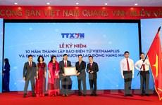 Toàn cảnh lễ đón Huân chương Lao động hạng Nhì của Báo VietnamPlus
