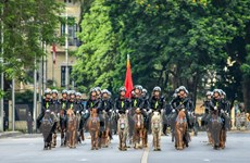 Kỵ binh Cảnh sát cơ động diễu hành trên Quảng trường Ba Đình