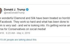 Tổng thống Mỹ phản đối chính sách kiểm duyệt của Facebook