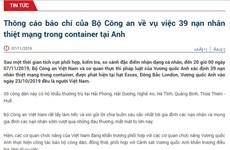 39 nạn nhân thiệt mạng trong container ở Anh đều là người Việt Nam