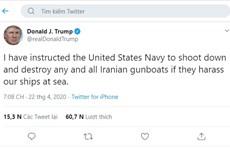 Tổng thống Mỹ: Hải quân được khai hỏa vào tàu chiến Iran quấy nhiễu