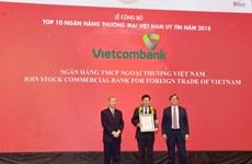 Vietcombank dẫn đầu tốp 10 ngân hàng thương mại uy tín nhất