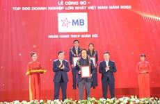 Ngân hàng MB ghi danh tốp 30 doanh nghiệp lớn nhất Việt Nam