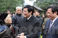 Chủ tịch nước đi thăm và chúc Tết tại Tân Trào