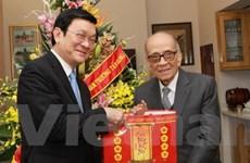 Chủ tịch nước chúc Tết nhà văn hóa GS Vũ Khiêu