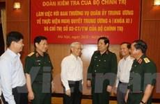 Đoàn Bộ Chính trị làm việc với Thường vụ Quân ủy TW