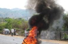 Xe máy bốc cháy trên quốc lộ 1A, 1 người chết
