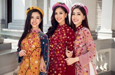 Top 3 Hoa hậu Việt Nam rạng rỡ đón Xuân trong tà áo dài thướt tha