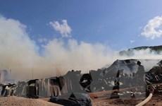Cháy lớn tại Bình Định, kho nguyên liệu chứa dăm gỗ bị thiêu rụi