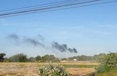 Cháy tuabin trên trụ điện gió của nhà máy phong điện ở Bình Thuận