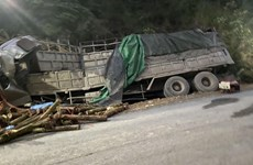 Thanh Hóa: Xe tải chở gỗ đâm vào taluy khiến 7 người tử vong