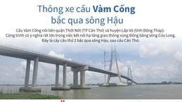 [Infographics] Chính thức thông xe cầu Vàm Cống bắc qua sông Hậu