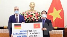 Việt Nam tiếp nhận 2,6 triệu liều vaccine AstraZeneca do Đức viện trợ