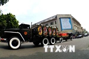 Hình ảnh linh xa nguyên Tổng Bí thư Đỗ Mười trên đường phố Hà Nội