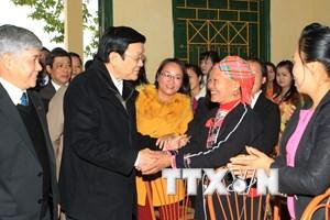 Chủ tịch nước Trương Tấn Sang thăm và làm việc tại Yên Bái