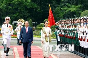 [Photo] Lễ đón Cố vấn Nhà nước Myanmar thăm chính thức Việt Nam