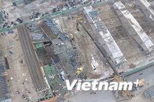 [Photo ] Nhìn từ trên cao vụ sập giàn giáo công trình ở Hà Đông