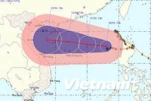 Tâm cơn bão số 10 đang có sức gió mạnh cấp 8