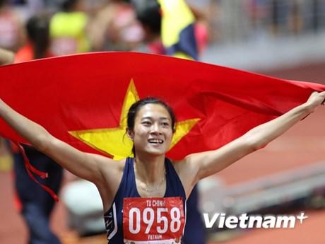 Đánh bại VĐV nhập tịch của chủ nhà, Lê Tú Chinh giành HCV 100m | Thể thao | Vietnam+ (VietnamPlus)