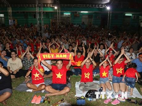 Người hâm mộ TP.HCM hết mình cổ vũ cho đội tuyển Việt Nam | Bóng đá | Vietnam+ (VietnamPlus)