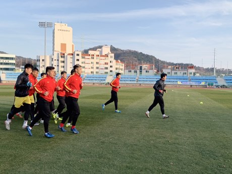 Đội tuyển U23 Việt Nam chăm chỉ tập luyện ở miền Nam Hàn Quốc | Bóng đá | Vietnam+ (VietnamPlus)