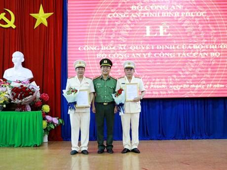 Bộ Công an bổ nhiệm 2 Phó giám đốc Công an tỉnh Bình Phước | Xã hội | Vietnam+ (VietnamPlus)