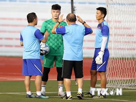 HLV Park Hang-seo từ chối trả lời về vị trí thủ môn của U22 Việt Nam | Bóng đá | Vietnam+ (VietnamPlus)