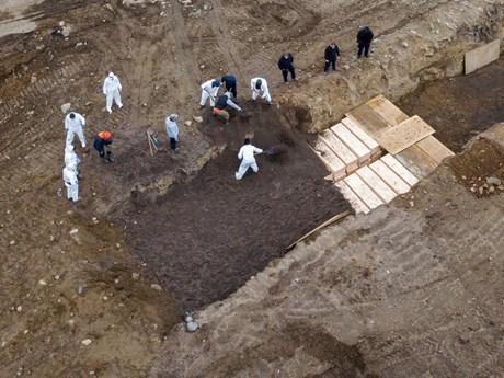 Những hố chôn tập thể nạn nhân tử vong vì dịch COVID-19 ở Mỹ | Đời sống | Vietnam+ (VietnamPlus)