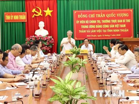 Thường trực Ban Bí thư Trần Quốc Vượng làm việc với Tỉnh ủy Ninh Thuận | Chính trị | Vietnam+ (VietnamPlus)
