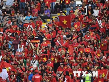Cổ động viên Việt Nam chiếm thế áp đảo trên khán đài trận gặp Jordan