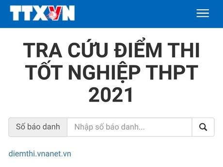 Công bố điểm thi tốt nghiệp THPT năm 2021, tra cứu trên VietnamPlus