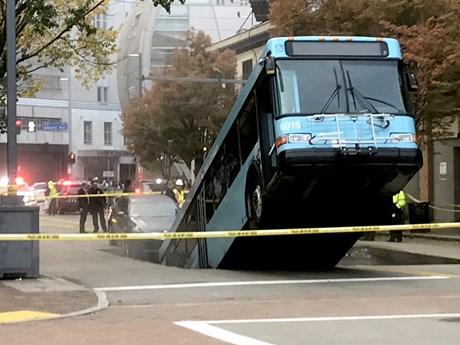 Mỹ: Hố sụt lún bất ngờ 'nuốt' chiếc xe buýt tại Pittsburgh  | Chuyện lạ | Vietnam+ (VietnamPlus)